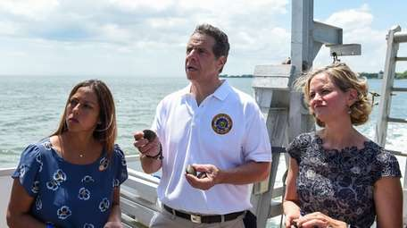 Gov. Andrew M. Cuomo, with state Sen. Monica