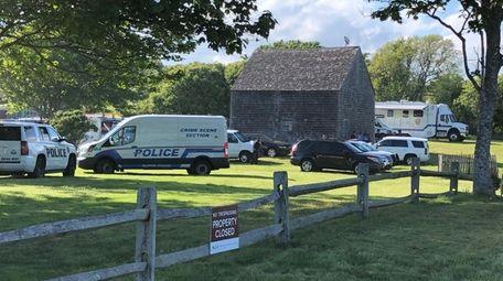 Police investigators at Kirk Park in Montauk on