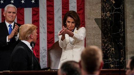 President Donald Trump acknowledges Speaker of the House