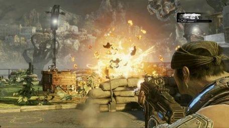 Gameplay shot in Gears of War 3.