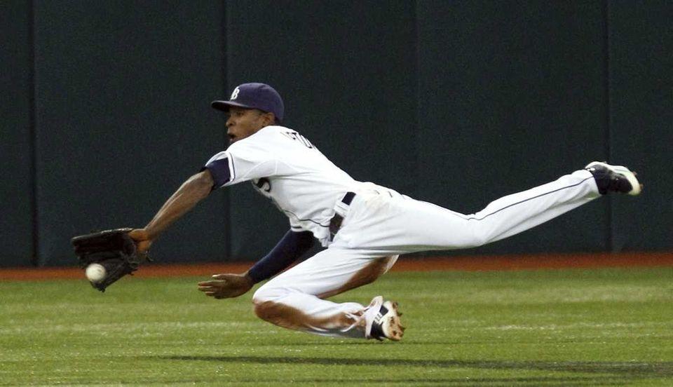 Tampa Bay Rays center fielder B.J. Upton makes