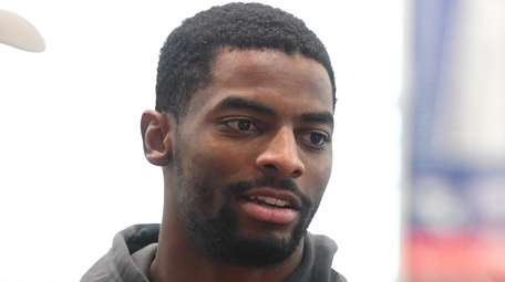 Giants wide receiver Darius Slayton answers questions from