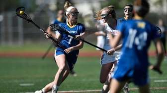 Mattituck/Southold's Rachel Janis, left, is defended by Pal-Mac's