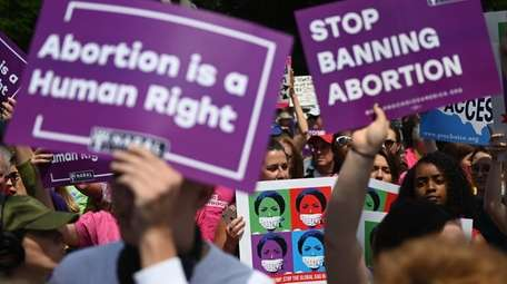 Abortion-rights activists rally in May in front of