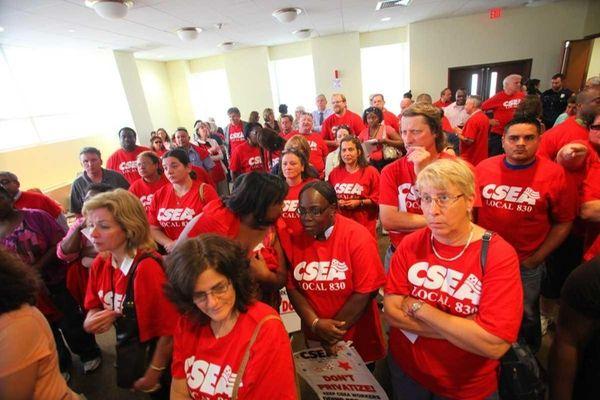 Members of the Nassau CSEA at a meeting.