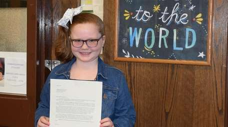Caitlyn Michiels, a third-grader at Moriches Elementary School,