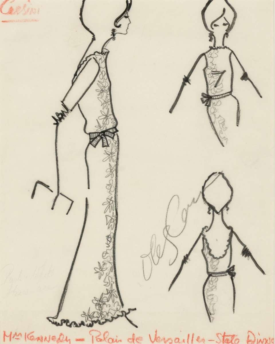 Signed fashion sketch titled,