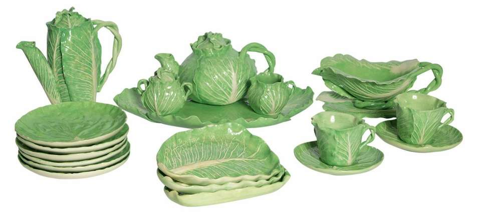 Dodie Thayer Green Glazed Cabbage Form Table