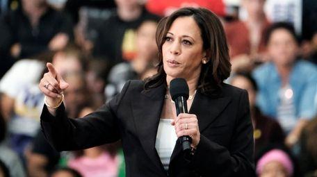 Democratic presidential candidate Sen. Kamala Harris, D-Calif., talks
