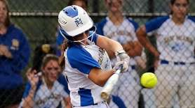 East Meadow's Amanda Thompson hits an RBI double