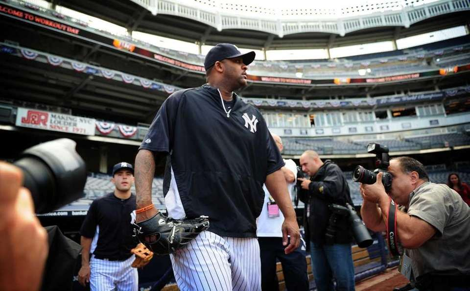 New York Yankees pitcher C.C. Sabathia takes the