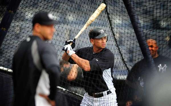 New York Yankees Alex Rodriguez takes batting practice
