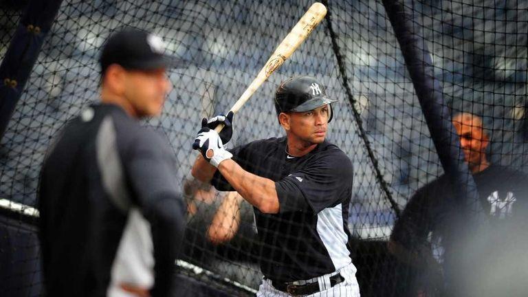 New York Yankees Alex Rodriguez takes batting practice