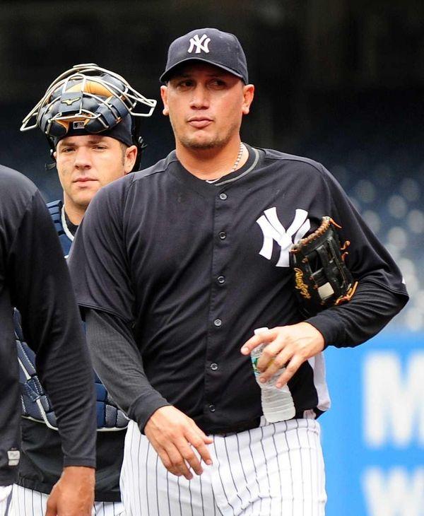 Freddy Garcia during a workout at Yankee Stadium
