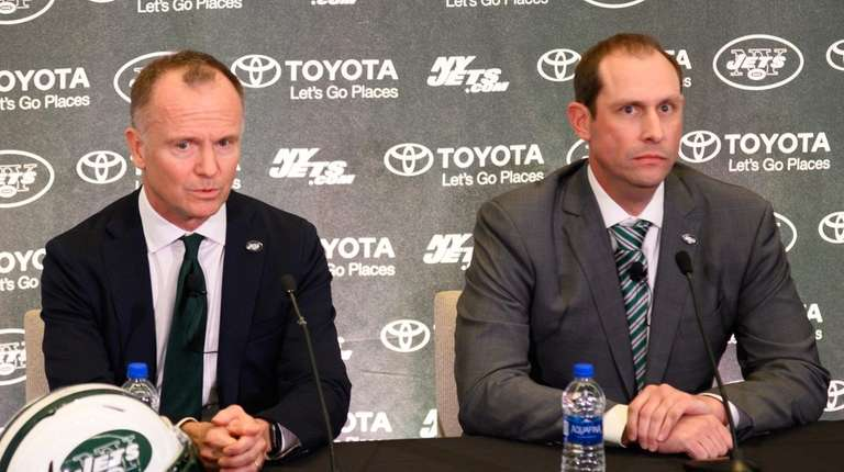 Jets chairman Christopher Johnson, left, and coach Adam