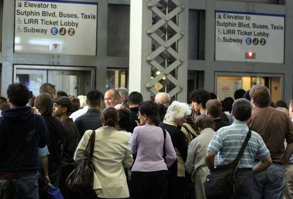 LIRR passengers wait for elevators to subway lines