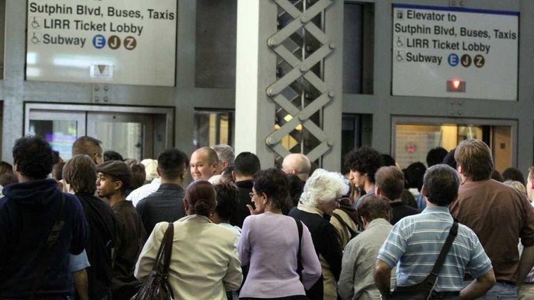 LIRR passengers wait for elevators to subway lines