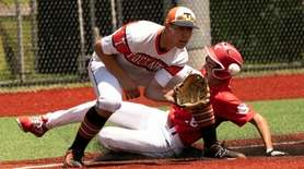 Harry Cowen slides into 3rd base safely over