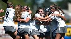Eastport-South Manor players after the final whistle of