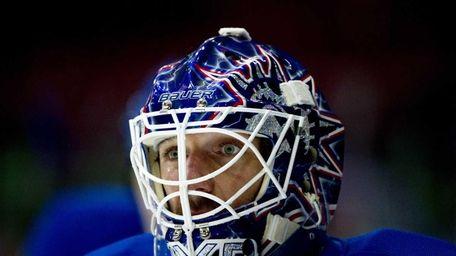 New York Rangers' Swedish goalie Henrik Lundqvist looks