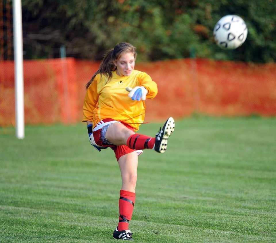 Sacred Heart goalie Arden Etts boots the ball