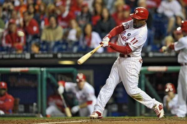 Jimmy Rollins of the Philadelphia Phillies hits a
