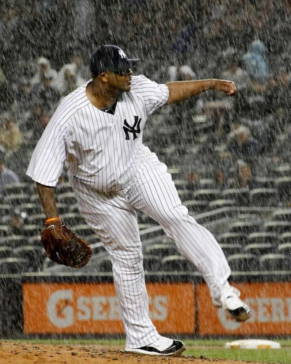 New York Yankees' CC Sabathia #52 pitches to
