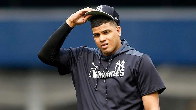Dellin Betances of the Yankees warms up on