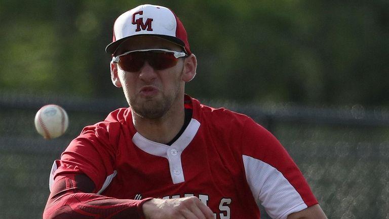 Center Moriches third baseman David Falco makes the