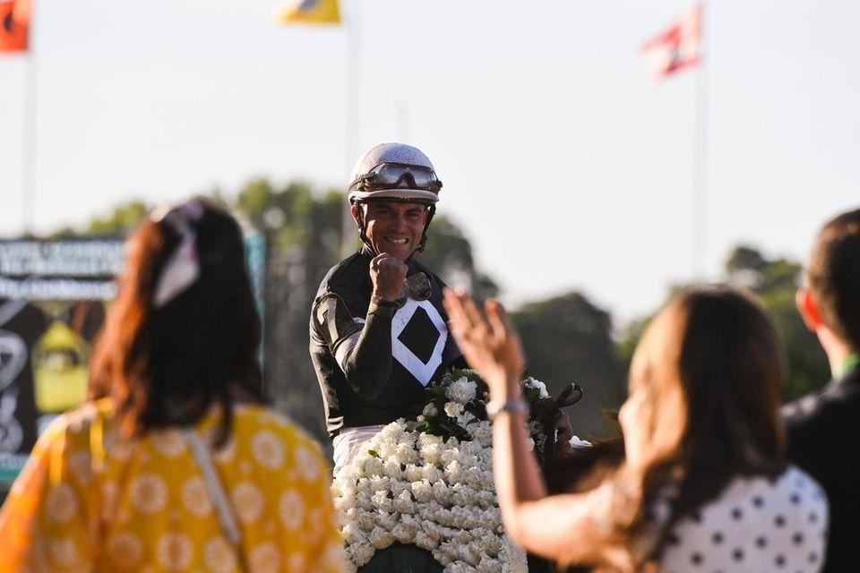 Jockey Joel Rosario celebrates after crossing the finish