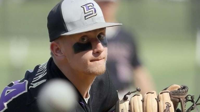 Sayville starting pitcher Brock Murtha delivers a pitch