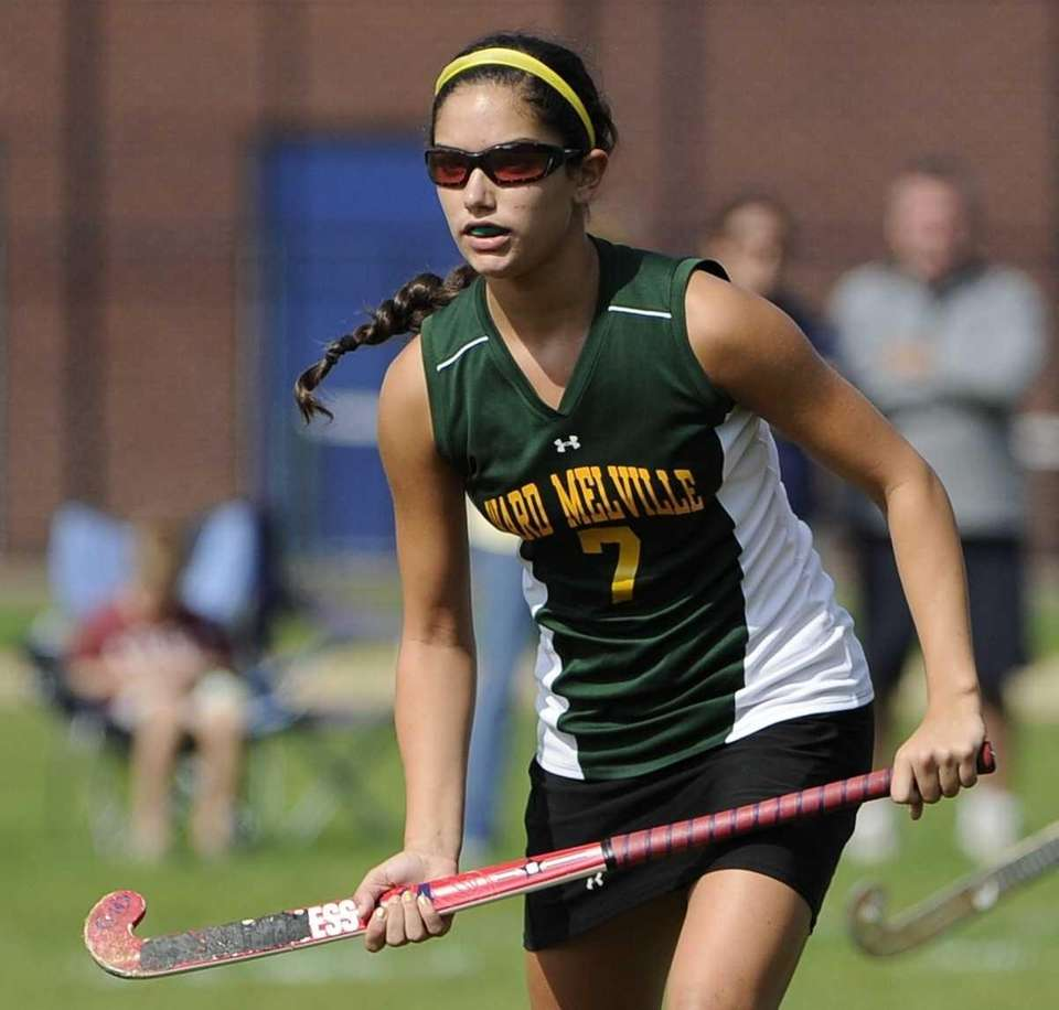 Ward Melville midfielder Vanessa Pryor watches her shot
