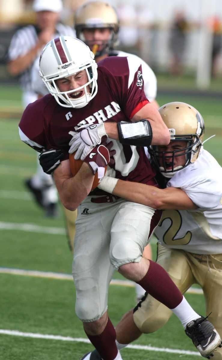Mepham H.S. player Dylan Gordon, no. 10, gets