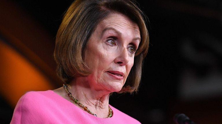 House Speaker Nancy Pelosi speaks during her weekly