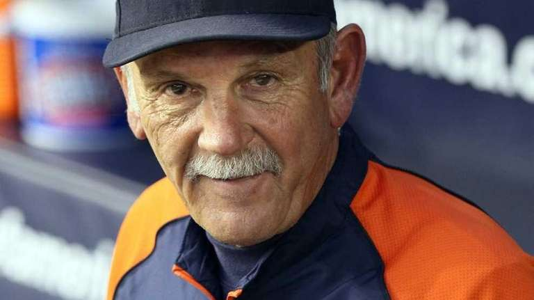 Detroit Tigers manager Jim Leyland looks on during