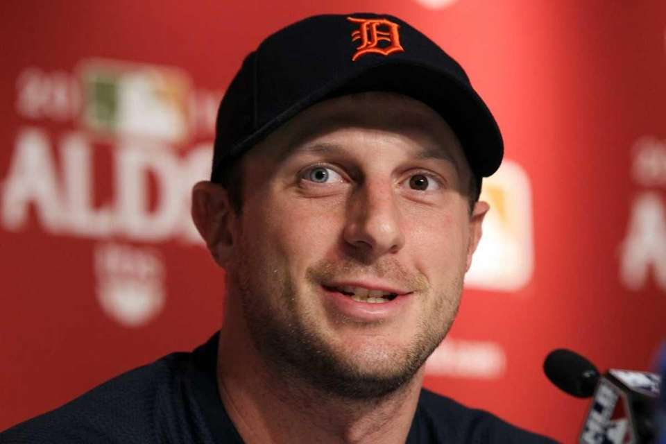 Detroit's Game 2 starter Max Scherzer speaks to