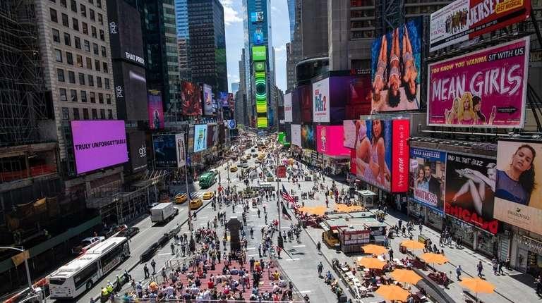 Views of pedestrian plazas in Times Square in