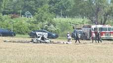 The wreckage of a small plane that crashed
