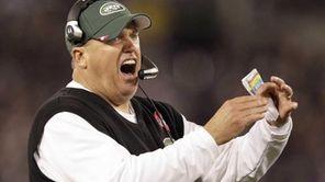 New York Jets head coach Rex Ryan reacts