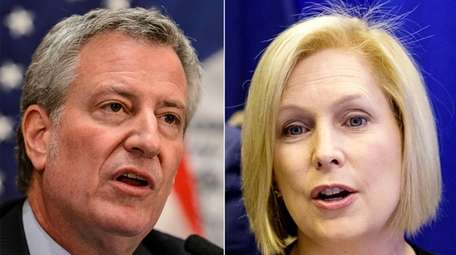 Mayor Bill de Blasio and Sen. Kirsten Gillibrand.