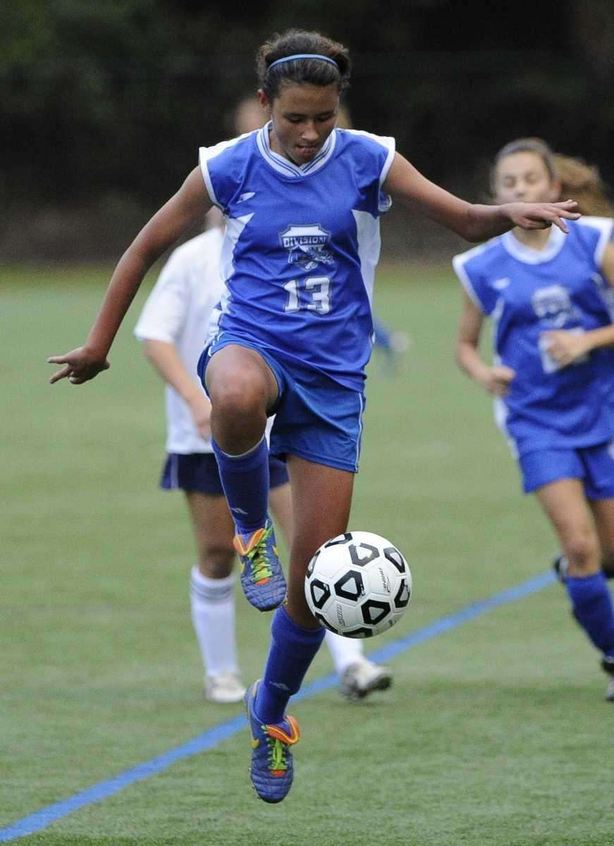 Division's Sara Pedroza controls the ball against South