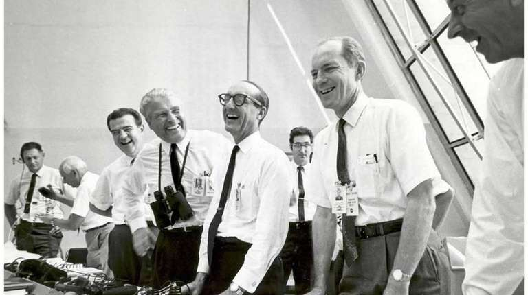 Apollo 11 mission officials relax in the Launch