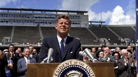 President John F. Kennedy delivers his 'We choose