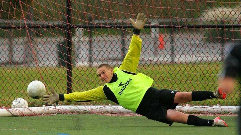 Massapequa goaltender Daniel Vitiello makes a diving save