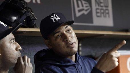 New York Yankees pitcher Ivan Nova sits in
