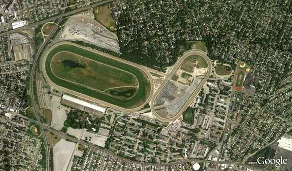 An aerial view of Belmont Racetrack.