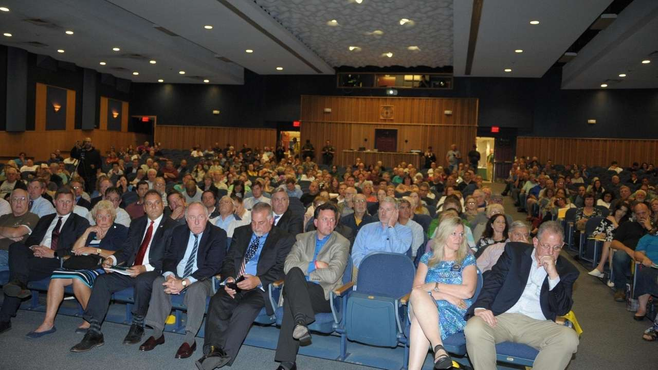 Hundreds packed Bethpage High School Mondayto hear an
