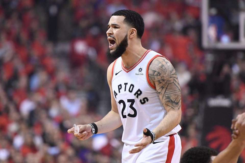 Toronto Raptors guard Fred VanVleet (23) reacts against