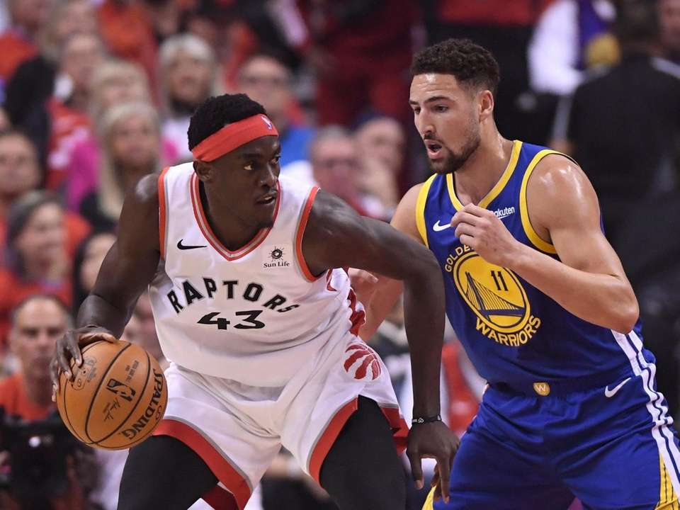Toronto Raptors forward Pascal Siakam (43) controls the