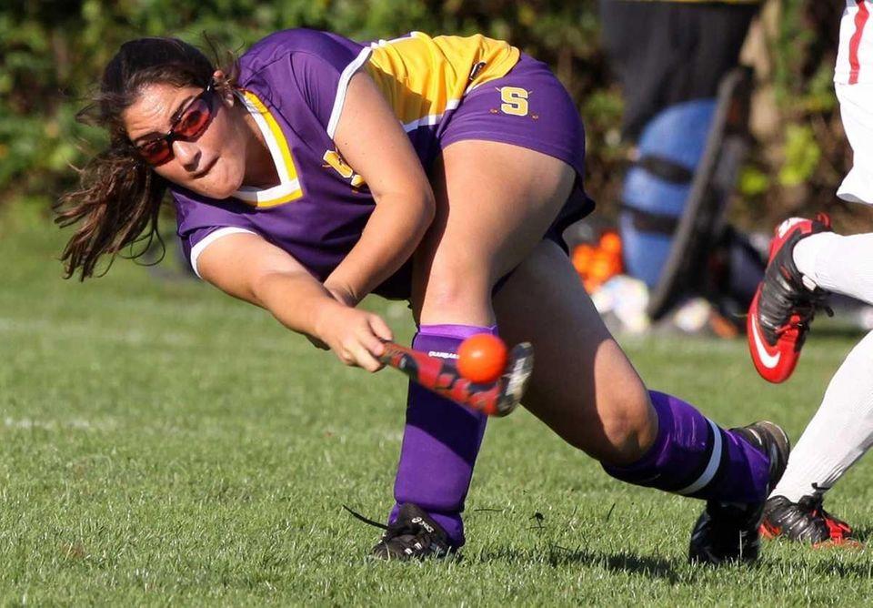 Sayville's #21 Shannon Litvin slaps the ball up